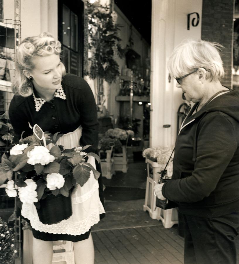 Bloemen-meisje-vintage